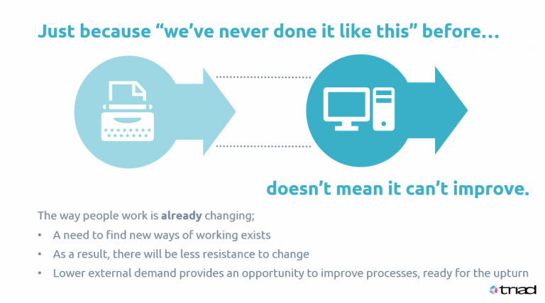 Slide showing the reasons why change can deliver improvements